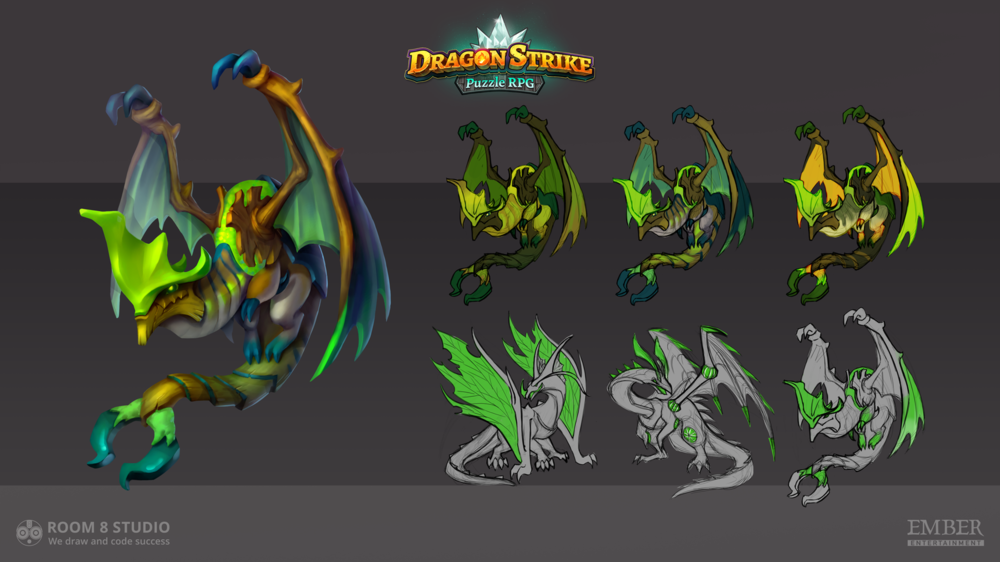 Kateryna Voron - Concept of green dragon done for Room 8 Studio
