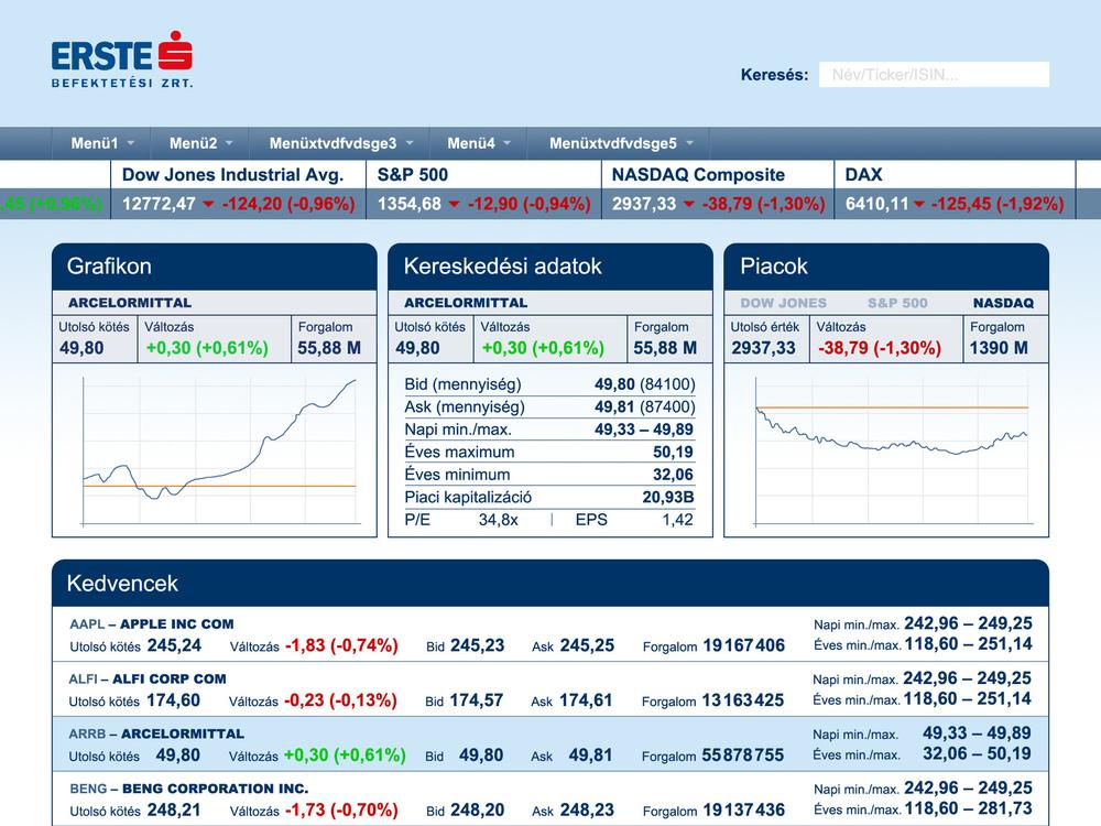 Zoltan Fabians portfolio page - iPad application Client: Erste Befektetési Zrt.