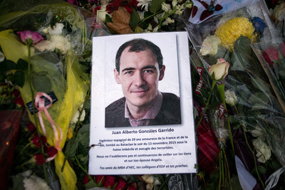 nicolascarvalhoochoa - A photo of Juan Alberto González Garrido (29), an Spanish industrial engineer, sits at Le Bataclans memorial. He was one of the 89 people killed by member of the ISIS terrorist group during the hostage-taking inside the theatre. [Paris, November 24th, 2015]
