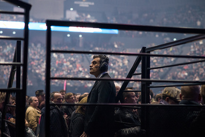 nicolascarvalhoochoa - A special security guard monitors the public during the Scorpions rock concert at AccorHotels Arena; the German rock band was the first band to play after Le Bataclans slaughter. Other groups such as U2 and Foo Fighters decided to cancel their shows as a precautionary measure. [Paris, November 24th, 2015]