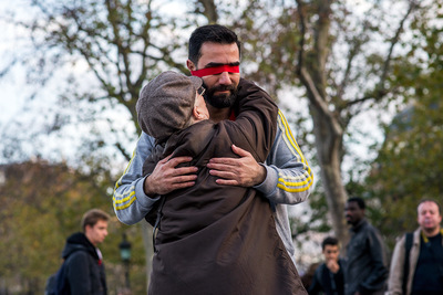 nicolascarvalhoochoa - Im Muslim and Im told Im not a terrorist. An unknown man hugs an old woman at Place de la République. The message on his piece of paper reads I trust you. Do you trust me? If yes, hug me?. His act was a trending topic worldwide. [Paris, November 18th, 2015]