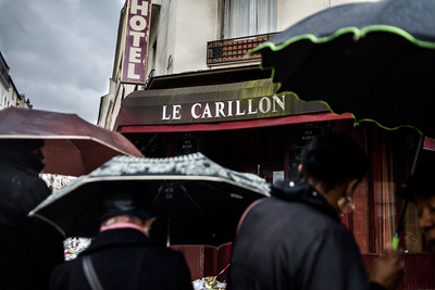 nicolascarvalhoochoa - Seven minutes prior, at 9:25 a group of terrorists fired shots at least 100 times and killed 15 people at the Le Carrillon and Le Petit Cambodge restaurants, in the intersection of Rue Alibert and Rue Bichat (10th district). [Paris, November 17th, 2015]