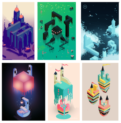 Lauren Cason - Concept sketches for various levels on Monument Valley 2