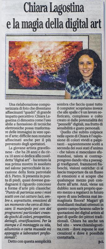 chiara lagostina photographer & digital artist - Tratto dal settimanale lInformatore, di Venerdì 11 Luglio 2014
