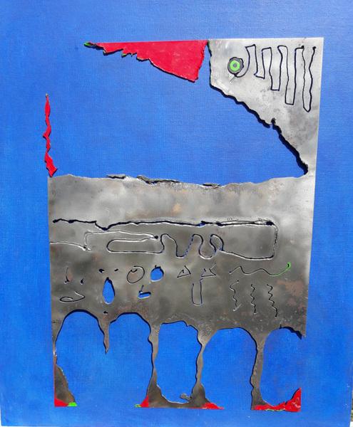 Anna Soremsky - Metallvogel auf blauem Grund (Privatbesitz)