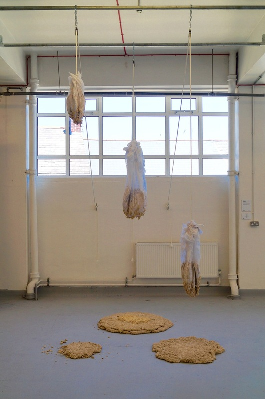 Lisa Davison - Live dough, Net, Rope, Pulleys, Scaffolding, chains