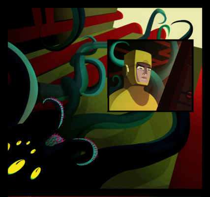 Haematinon - Fine Art, Design and Illustration - Panel for the forthcomingTeleglitch: Die More Edition the Comic