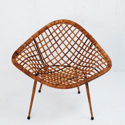 Perlapatrame - meubles - objets - vintage - fauteuil rotin vintage 1950