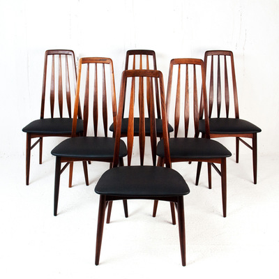 Perlapatrame - meubles - objets - vintage - 6 CHAISES EVA NIELS KOEFOEDS PALISSANDRE DANOIS SCANDINAVE VINTAGE 1960