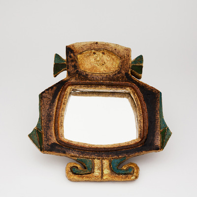 Perlapatrame - meubles - objets - vintage - miroir ceramqiue les argonautes vallauris ceramique 50 1950 french ceramic capron derval