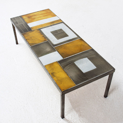 Perlapatrame - meubles - objets - vintage - table basse roger capron ceramique 50