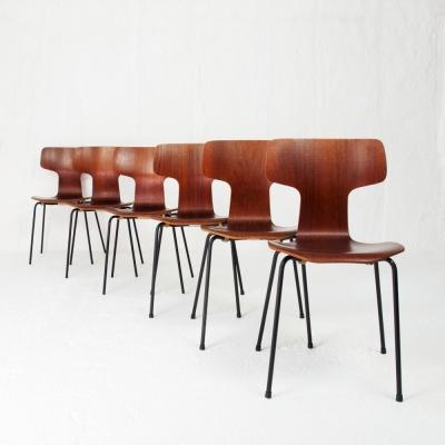 Perlapatrame - meubles - objets - vintage - 6 CHAISES 3103 ARNE JACOBSEN