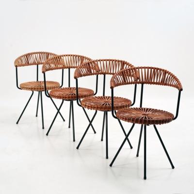 Perlapatrame - meubles - objets - vintage - 4 CHAISES DIRK VAN SLIEDREGT
