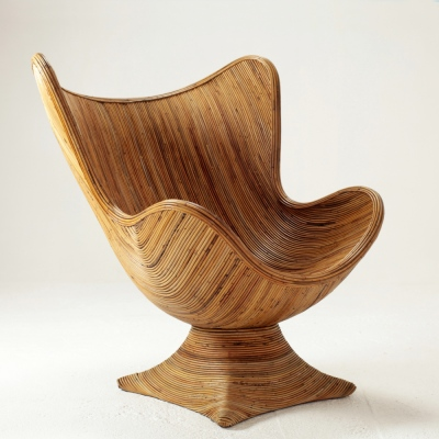Perlapatrame - meubles - objets - vintage - FAUTEUIL ROTIN ITALIE 80s