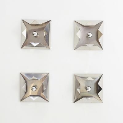 Perlapatrame - meubles - objets - vintage - 4 APPLIQUES INOX 1970s