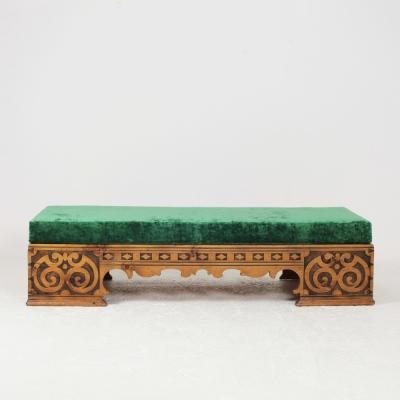 Perlapatrame - meubles - objets - vintage - BANQUETTE PIN SCULPTE 19E