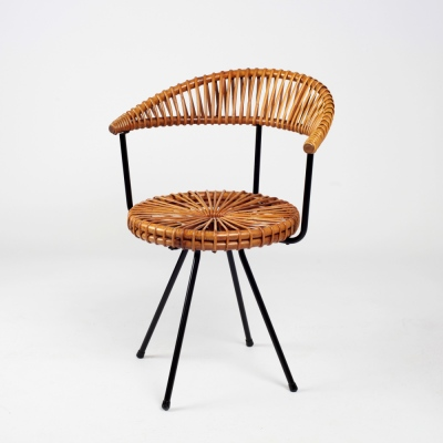 Perlapatrame - meubles - objets - vintage - CHAISE ROTIN D V SLIEDREGT
