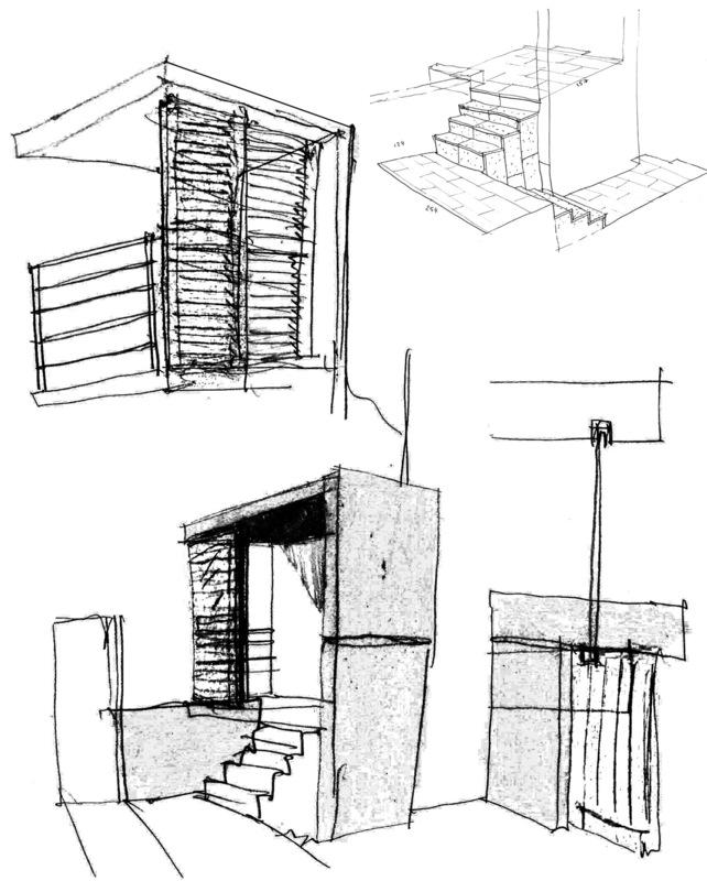Architecte Marseille - Agence Elbaz Architecture à Marseille (13007) - Le porche d'entrée, par opposition, est en béton bleu. Il est composé d'un sas à ciel ouvert avec un petit escalier donnant sur un auvent en porte-à-faux blanc, protégeant l'accès à la maison.