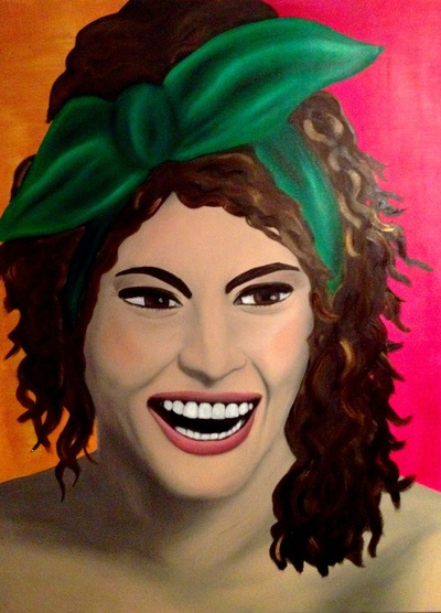Graphit und Farbe - Sophia Öl und Acryl auf Leinwand