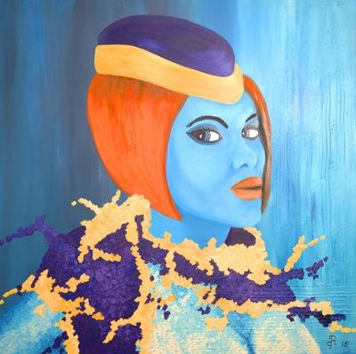 Graphit und Farbe - Chris Öl und Acryl auf Leinwand