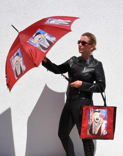 Graphit und Farbe - Schirm u. Shopper Maria