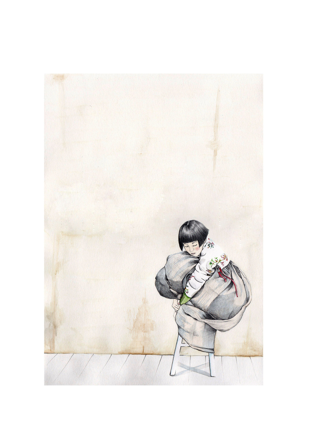 Laura Searle - Pencil & Watercolor. Contrast.