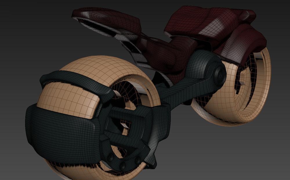 myPortfolio - sci-fi bike - rear side view