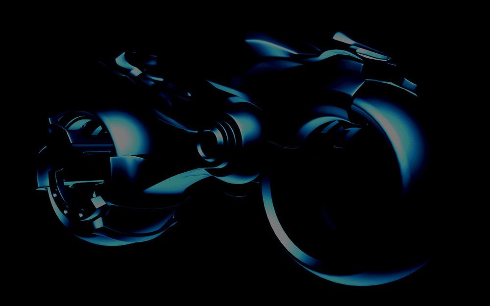 myPortfolio - Blue Bike 1 - Sci-Fi bike illustration