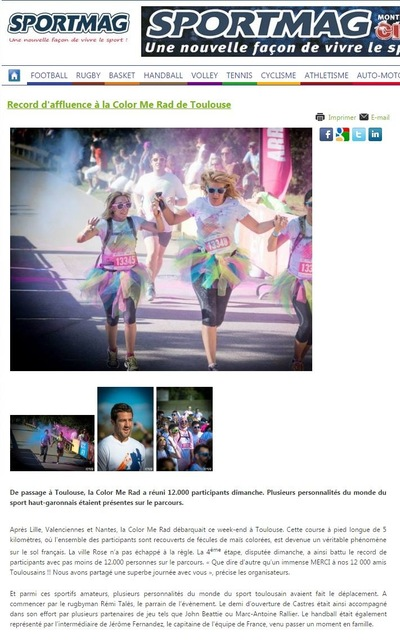 Will B. Photographie - SPORT MAG - OCTOBRE 2014 - ILLUSTRATION DE LARTICLE DE LA COLOR ME RAD DE TOULOUSE