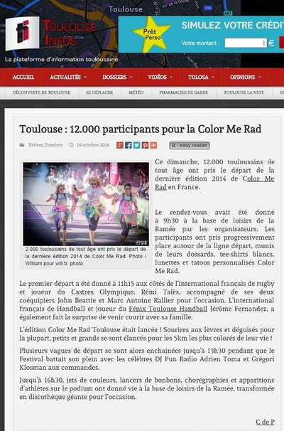 Will B. Photographie - TOULOUSE INFOS - OCTOBRE 2014 - ILLUSTRATION DE LARTICLE DE LA COLOR ME RAD DE TOULOUSE