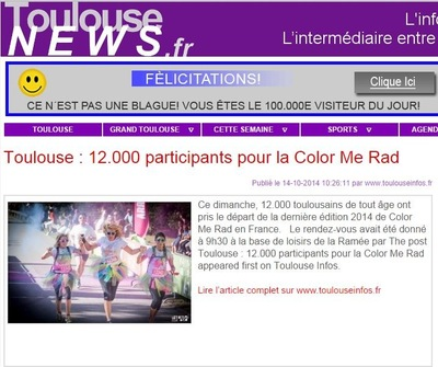 Will B. Photographie - TOULOUSE NEWS - OCTOBRE 2014 - ILLUSTRATION DE LARTICLE DE LA COLOR ME RAD DE TOULOUSE