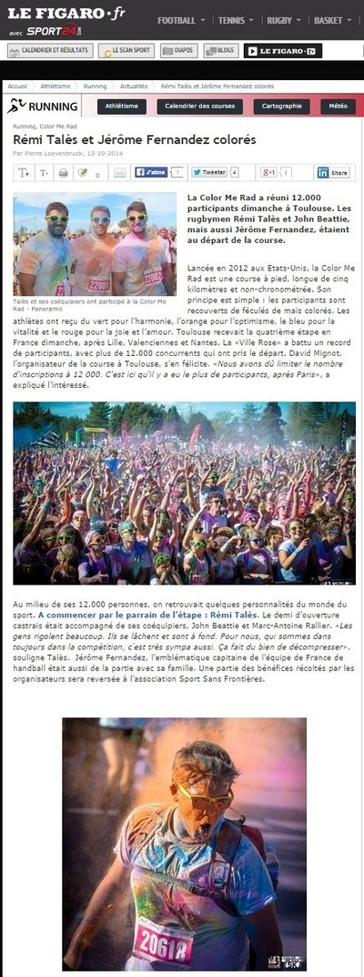 Will B. Photographie - LE FIGARO / SPORT 24 - OCTOBRE 2014 - ILLUSTRATION DE LARTICLE DE LA COLOR ME RAD DE TOULOUSE