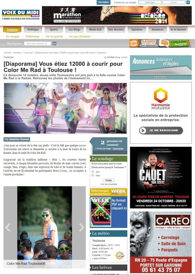 Will B. Photographie - LA VOIX DU MIDI - OCTOBRE 2014 - ILLUSTRATION DE LARTICLE DE LA COLOR ME RAD DE TOULOUSE