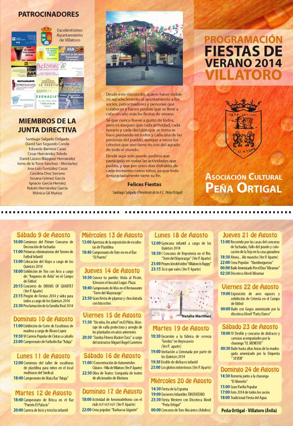 Portfolio Mónica Gil - Tríptico con información de las fiestas de verano. A. C. Peña Ortigal, 2014