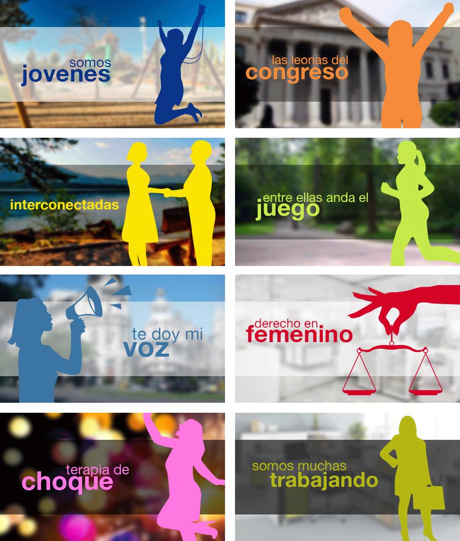 Portfolio Mónica Gil - Banners utilizados como botones para los diversos postcast de los programas que tiene una radio online. Somos Muchas Radio, 2014