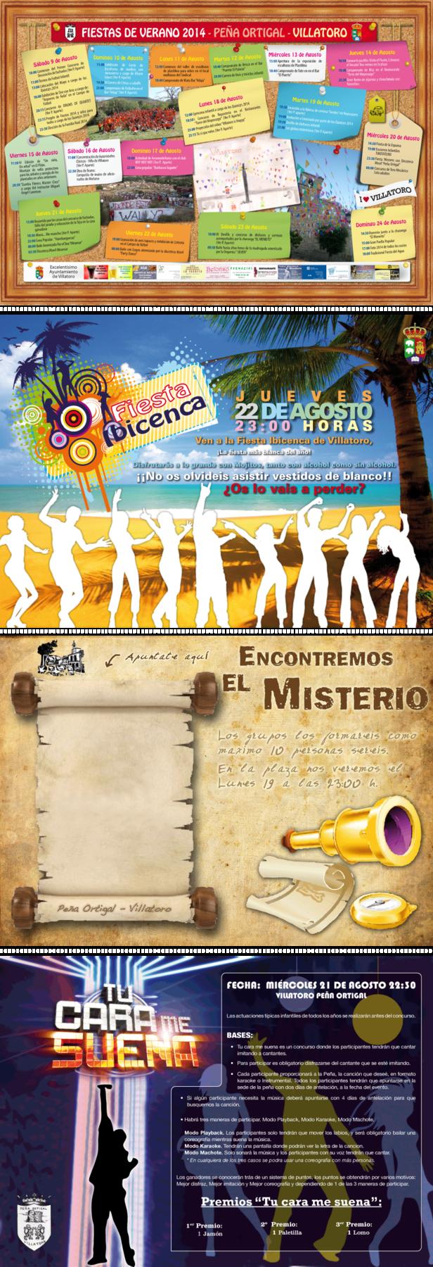Portfolio Mónica Gil - Cartelería para promocionar e informar sobre las actividades que se realizan en versión Horizontal. A. C. Peña Ortigal, 2014, 2012, 2011