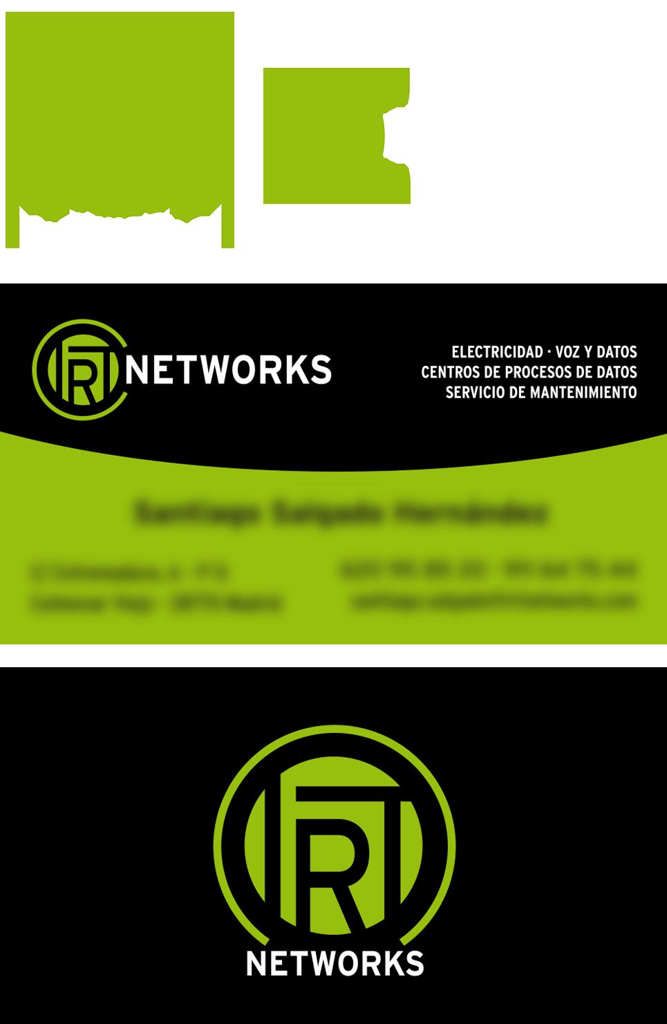 Portfolio Mónica Gil - Imagen corporativa de la empresa IRT Networks, compuesto de logotipos, tarjetas de visita y proximamente Página Web