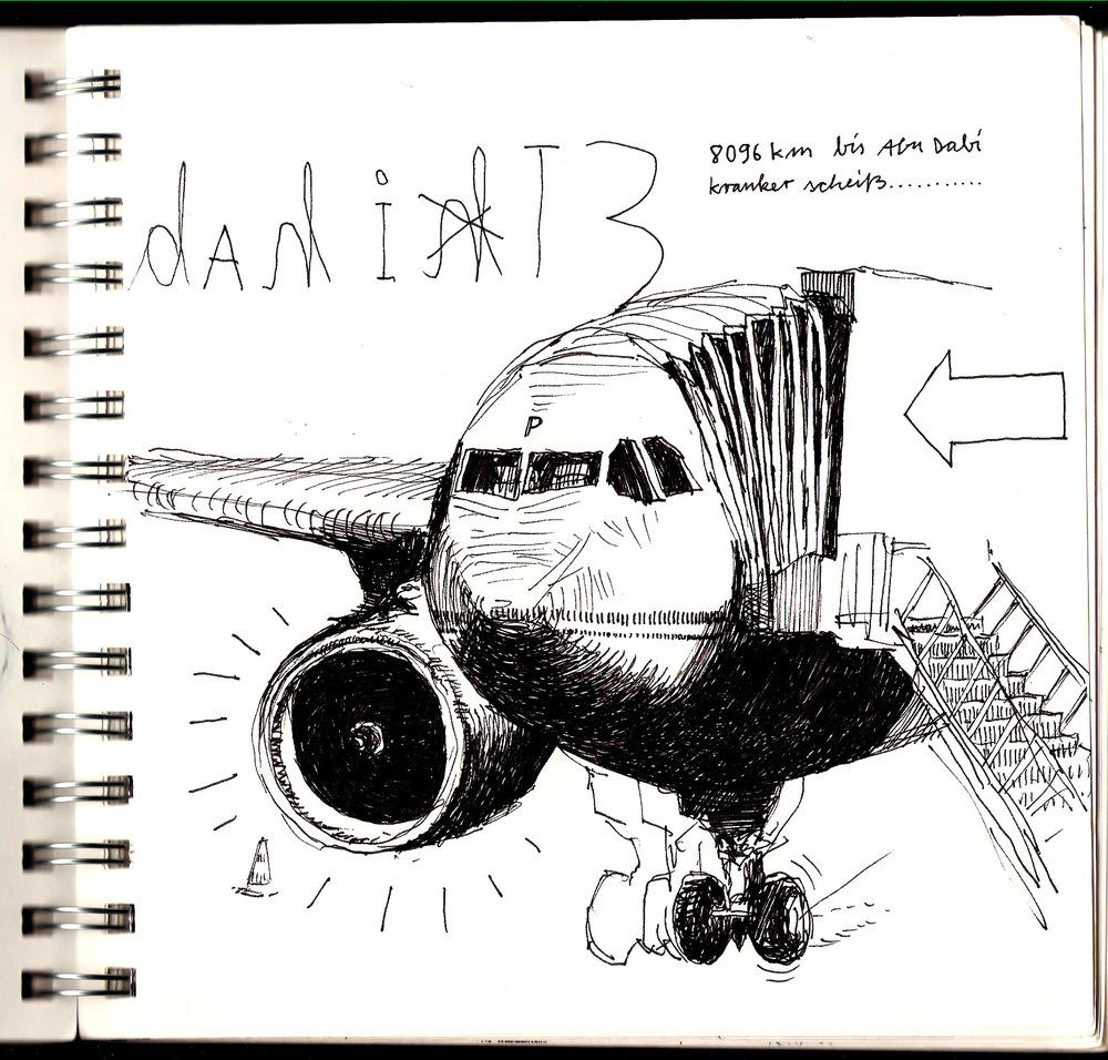 Shimons Hands - Rückflug über Abu Dhabi...