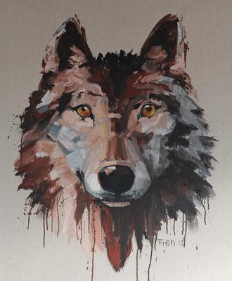 Galerie op 11 - Wolf acryl op linnen november2016 (verkocht)