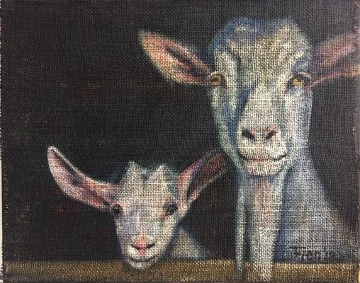 Galerie op 11 - Geit moeder en kind Acryl op grof doek 40/50