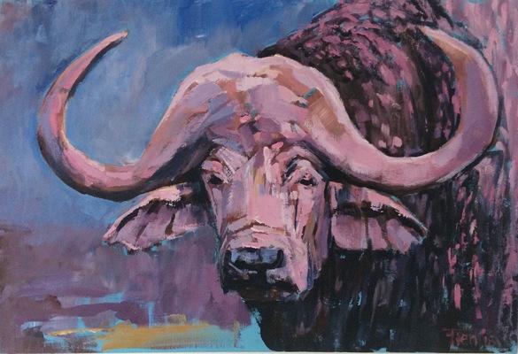 Galerie op 11 - Waterbuffel Acryl op doek 60/90