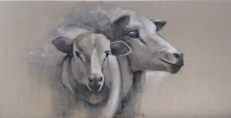 Galerie op 11 - schapen koppen Acryl op linnen 80/120