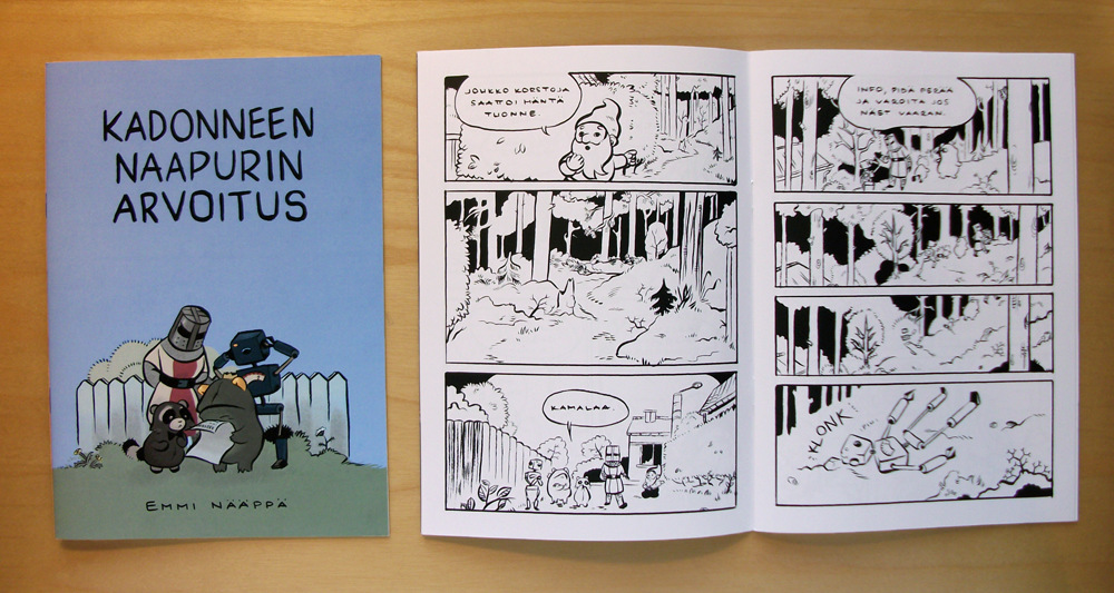 Emmi Nääppä - Omakustannesarjakuvalehti, jota olen myynyt sarjakuvatapahtumien taidekujilla Sarjakuvasivut siveltimellä, kuvanmuokkaus Photoshopissa, taitto InDesignissa