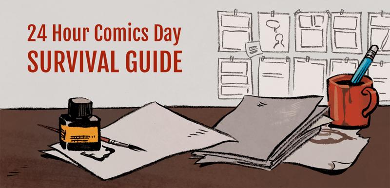 Emmi Nääppä - Kuvitus blogikirjoitukseeni 24 Hour Comics Day survival guide, jonka voi lukea tästä osoitteesta Muste, sivellin, Photoshop, Gravit Designer