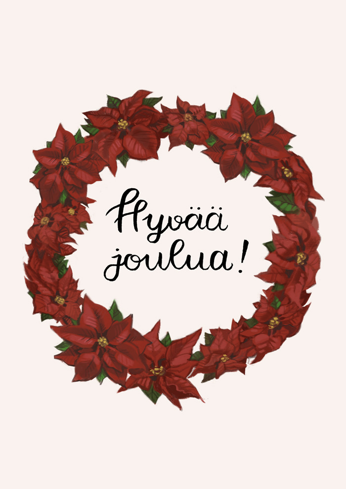 Emmi Nääppä - Kuvitus joulukortteihin, joita myyn taidekujilla. Procreate maalaamiseen, sivellinkynä kalligrafiaan, Photoshop muokkaamiseen