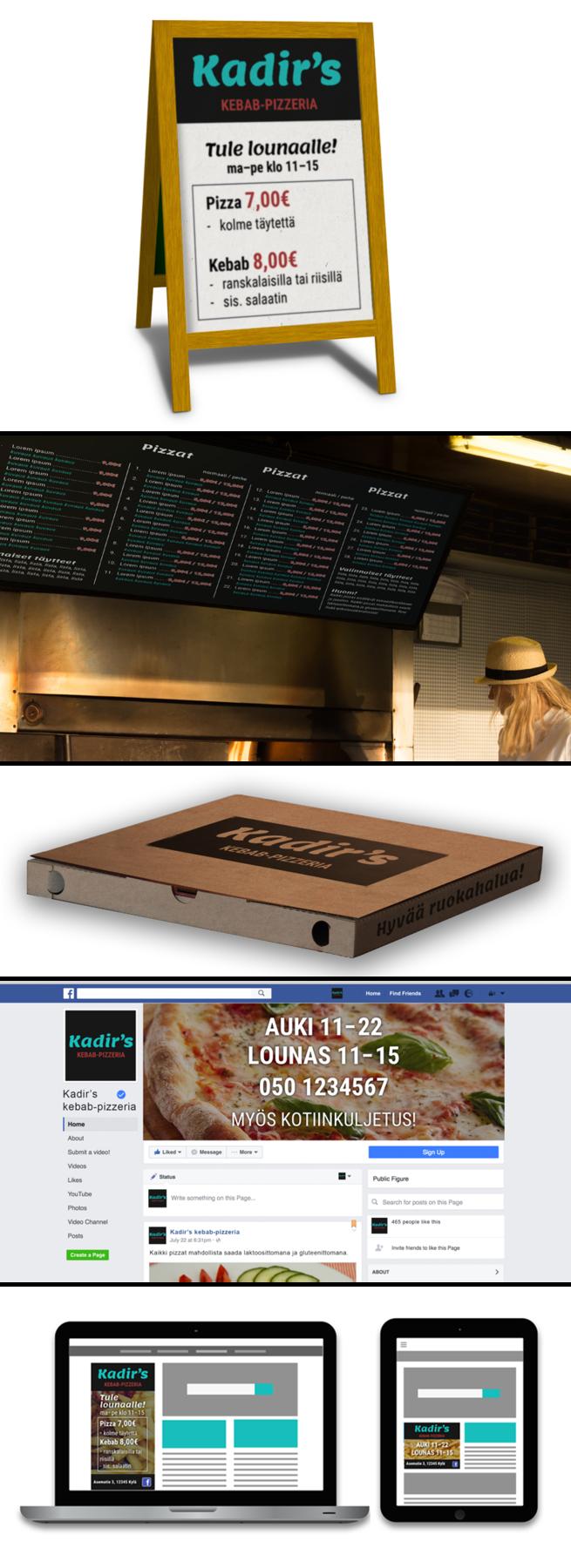 Emmi Nääppä - Yritysilme ravintolalle Valmistin kuvitteelliselle ravintolalle logon, A-tauluissa käytettävän lounaslistan, ravintolan seinälle koko ruokalistan, Facebook-sivujen kansikuvan ja display-mainoksia. Gravit Designer, InDesign