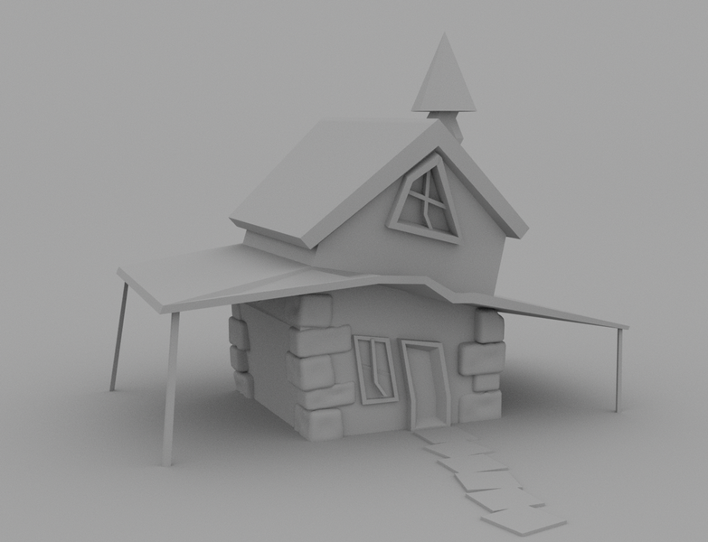 Montana Jade - Flat render of low poly crooked house.