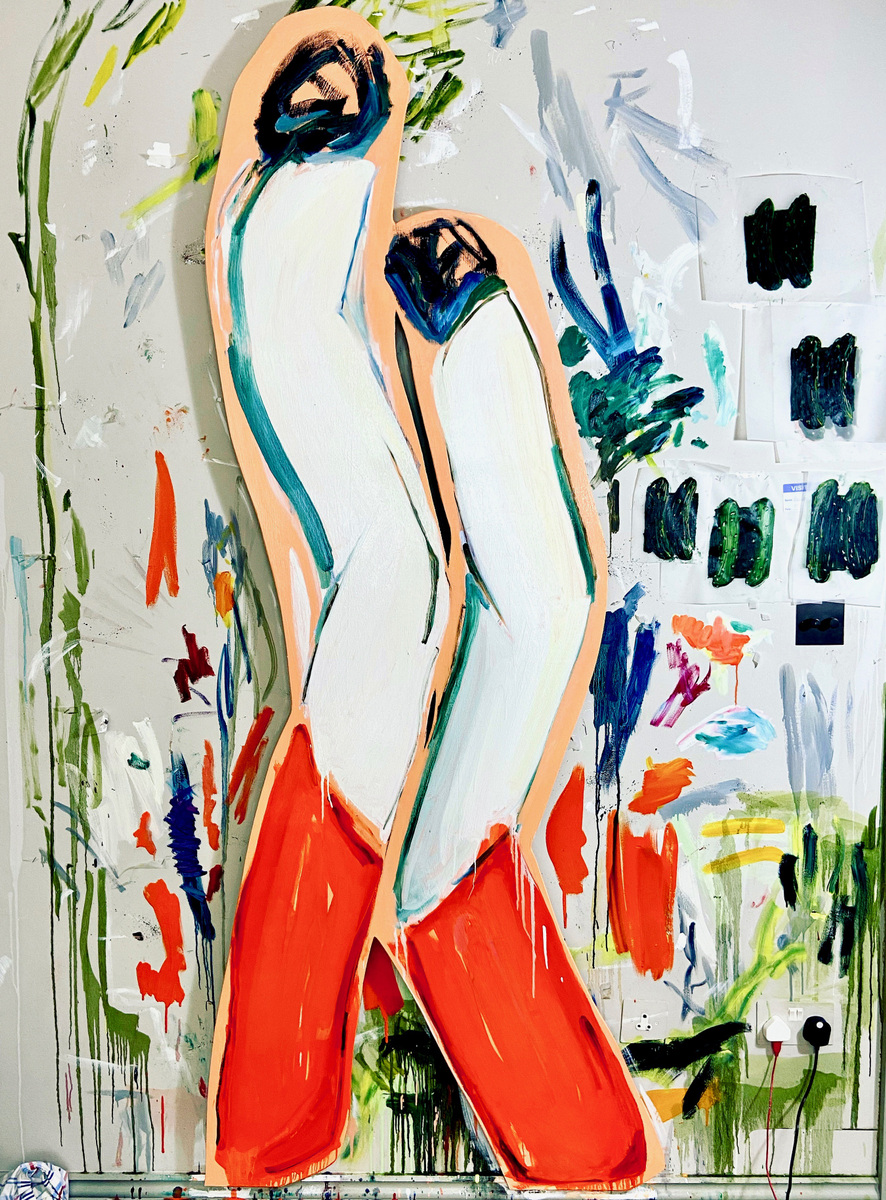 Anna Choutova - Separation Anxiety Oil on Wood 190 cm x 45 cm