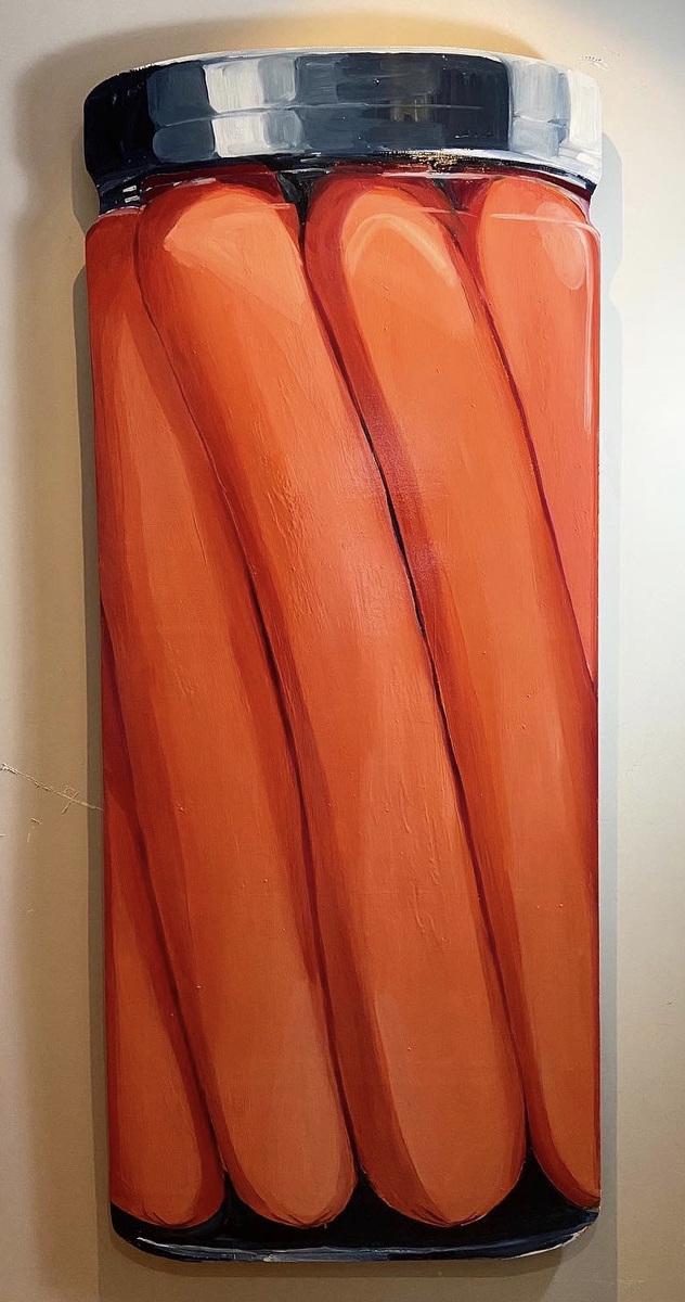 Anna Choutova - Frankfurters Oil on Wood 180 cm x 85 cm