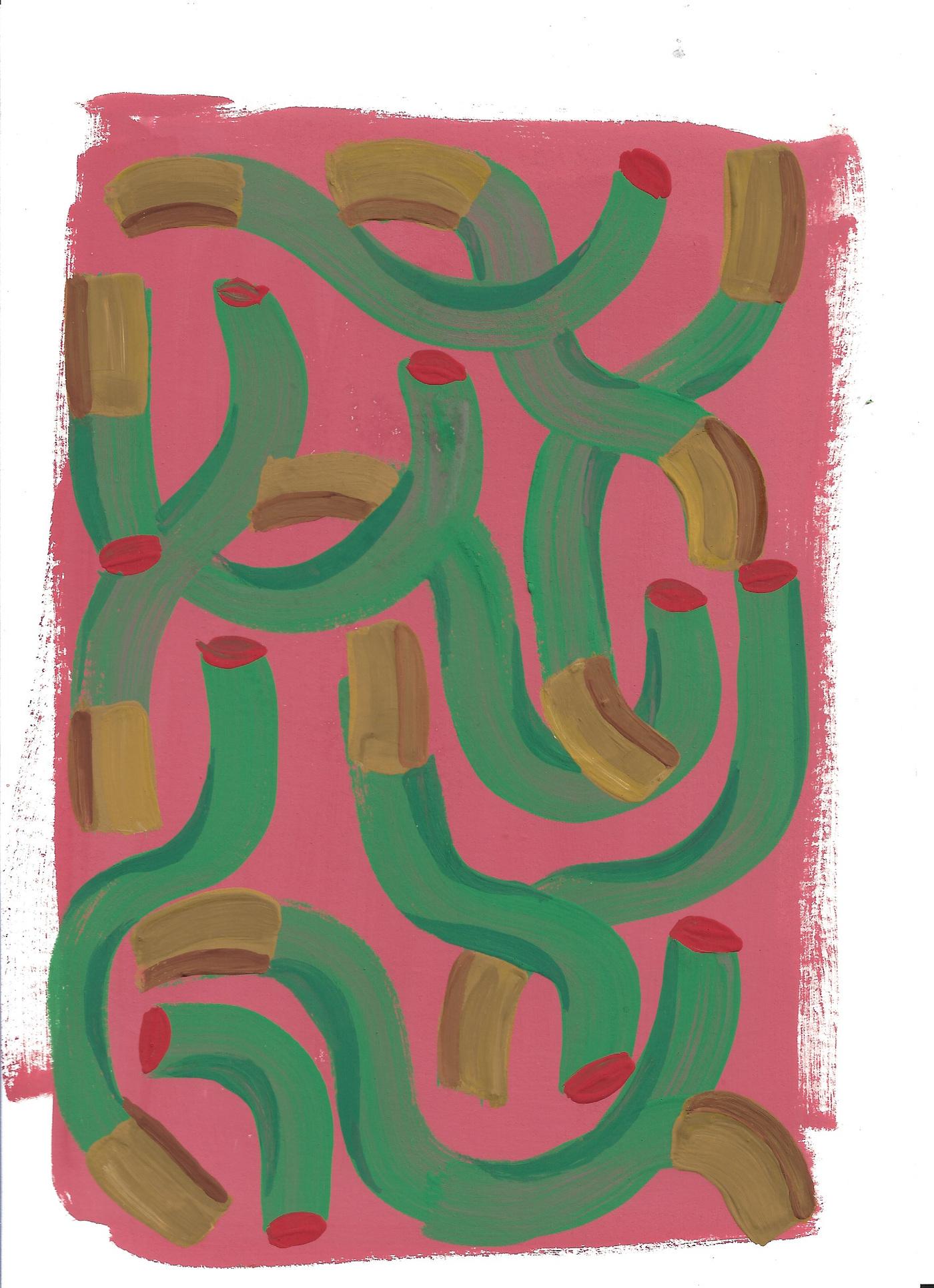Anna Choutova - Cigarette Fever Dream 12 Gouache on Paper21 cm x 15 cm